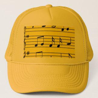 Boné Notas da música - preto no amarelo