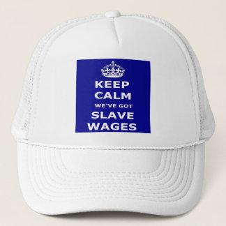 Boné O chapéu mantem We've calmo obtido salários do