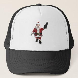 Boné Papai Noel com gato preto