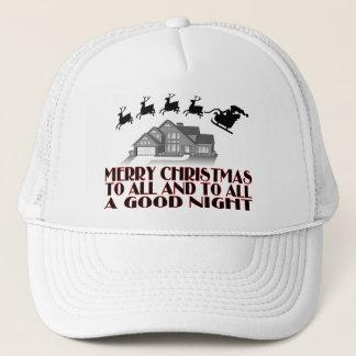 Boné Papai noel que voa sobre noite do Natal da casa a