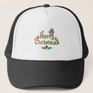 Boné Pássaros e esquilo do Feliz Natal