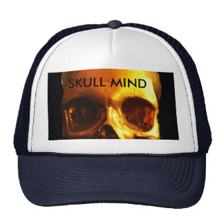 Boné preto e branco do chapéu da mente do crânio