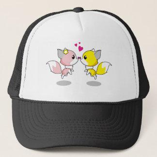 Boné Raposas bonitos em desenhos animados do amor