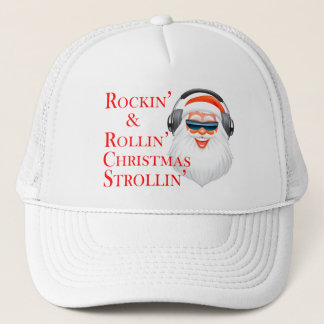 Boné Rockin Papai Noel legal com fones de ouvido