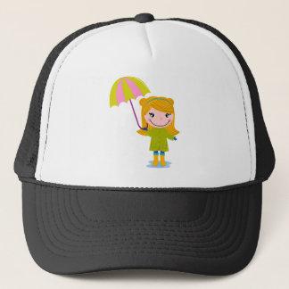 Boné T-shirt chuvosos louros da menina