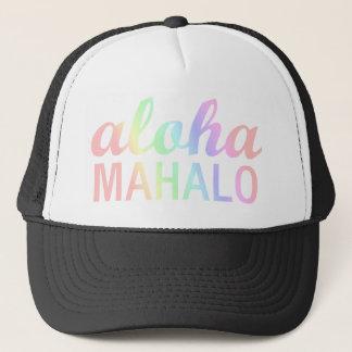 Boné Tipografia Pastel de Mahalo dos arcos-íris Aloha