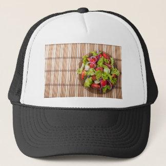 Boné Vista superior da salada do vegetariano em uma