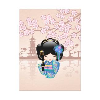 Boneca de Keiko Kokeshi - menina de gueixa azul do