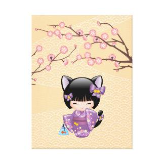 Boneca de Neko Kokeshi - menina de gueixa das