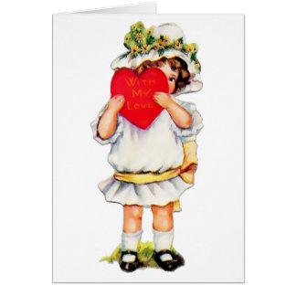 Boneca dos namorados do vintage & coração vermelho cartão comemorativo