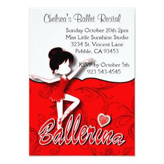 Boneca | |Personalize vermelho escuro da bailarina Convite 12.7 X 17.78cm