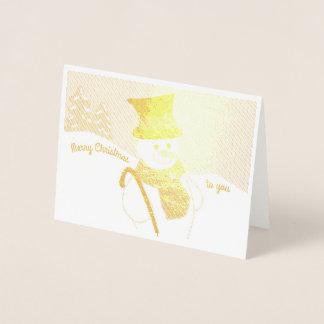Boneco de neve alegre cartão metalizado
