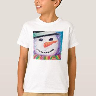 Boneco de neve amigável com o Tshirt do Natal do
