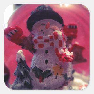 Boneco de neve bonito adesivo quadrado