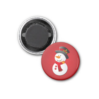Boneco de neve bonito & engraçado do Natal Ímã Redondo 2.54cm