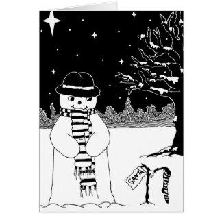 boneco de neve com arte preto e branco do lenço e cartao
