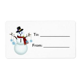Boneco de neve com o Tag do presente dos flocos de Etiqueta De Frete
