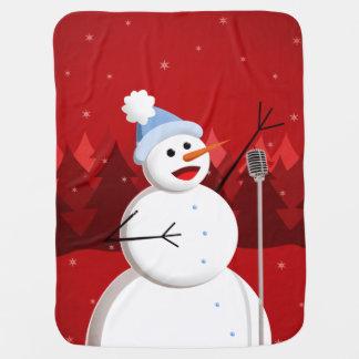 Boneco de neve de canto feliz do Natal Manta Para Bebe