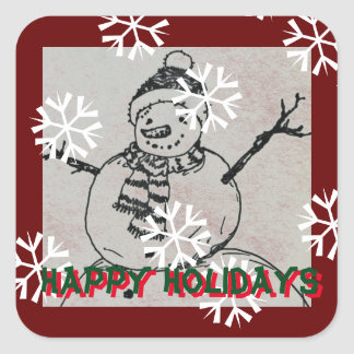 Boneco de neve de sorriso boas festas adesivo quadrado