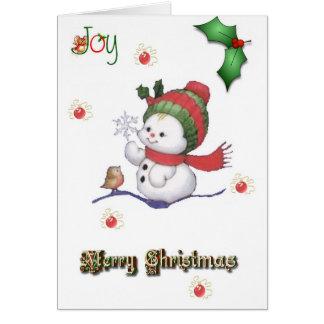 boneco de neve do bebê que fala a um cartão de