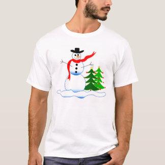 Boneco de neve do feriado no t-shirt dos homens