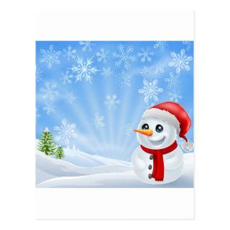 Boneco de neve do Natal na cena nevado Cartão Postal