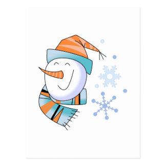 Boneco de neve e flocos de neve cartão postal