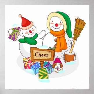 Boneco de neve e um snowwoman com presentes de Nat Poster