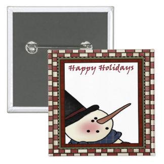 Boneco de neve feliz do feriado bóton quadrado 5.08cm
