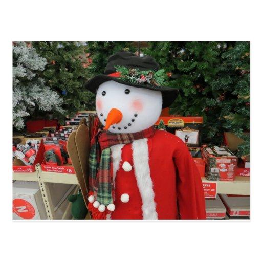 Boneco de neve festivo, 2 cartoes postais