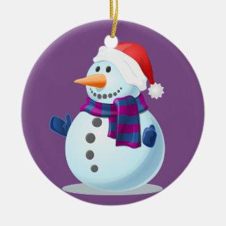 Boneco de neve pequeno feliz no fundo roxo ornamento de cerâmica