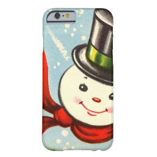 Boneco de neve retro pequeno bonito capa barely there para iPhone 6