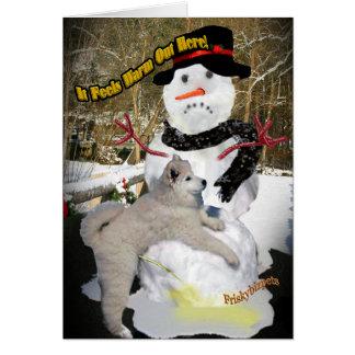 Boneco de neve sente para fora aqui cartões mornos