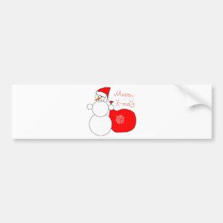 Boneco de neve X-Mas alegre no saco do carregando Adesivo Para Carro