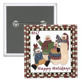 Bonecos de neve dos cartões de natal bóton quadrado 5.08cm