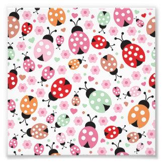 Bonito, colorido, joaninha, floral, feminino, para impressão de foto