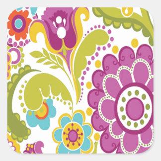 bonito floral do padrão adesivo quadrado