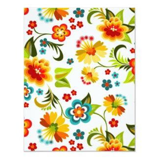 bonito floral do padrão convite 10.79 x 13.97cm