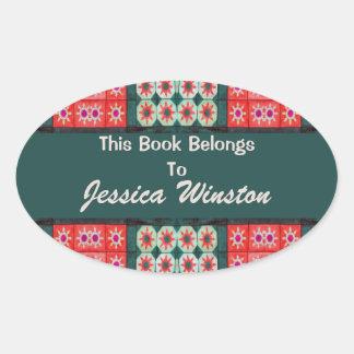 Bookplates vermelhos do azulejo da cerceta adesivo oval