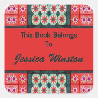 Bookplates vermelhos do azulejo da cerceta adesivo quadrado