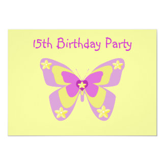 Borboleta, 15o convite de aniversário convite 12.7 x 17.78cm
