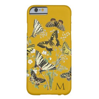 Borboleta amarela botânica, Monogrammed Capa Barely There Para iPhone 6