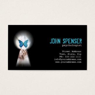 Borboleta azul do psicólogo do cartão do buraco da
