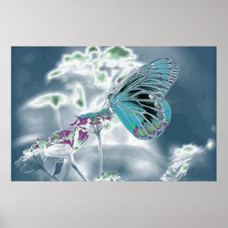 Borboleta bonita na flor - foto negativa 3 poster