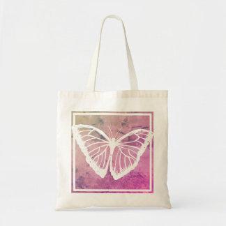 Borboleta branca no quadrado cor-de-rosa bolsa tote