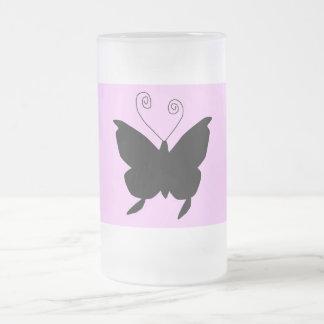 Borboleta da diva caneca de vidro fosco