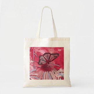 Borboleta de monarca cor-de-rosa bolsa tote
