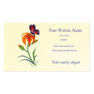 Borboleta de monarca & lírio de tigre cartão de visita