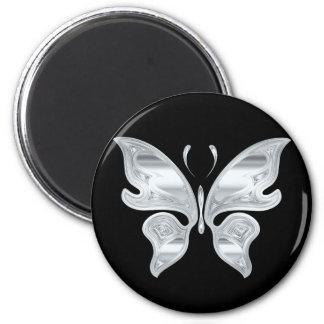 Borboleta de prata ímã redondo 5.08cm