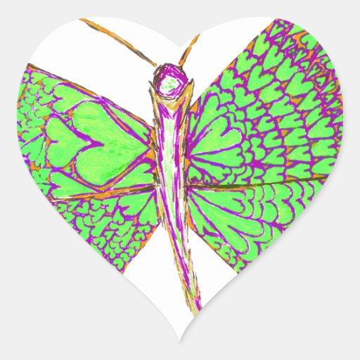 Borboleta do coração adesivos em forma de corações
